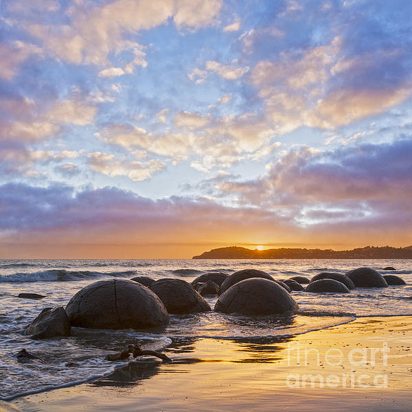 Moeraki Boulders Otago New Zealand Sunrise Print by Colin and Linda McKie