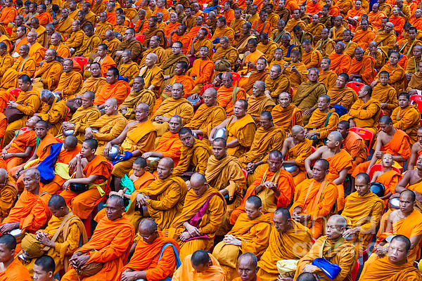 Monk Mass Alms Giving In Bangkok Print by Fototrav Print