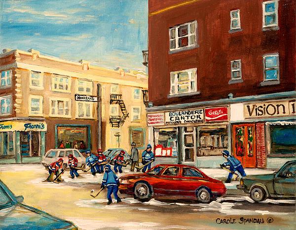 Monkland Street Hockey Game Montreal Urban Scene Print by Carole Spandau