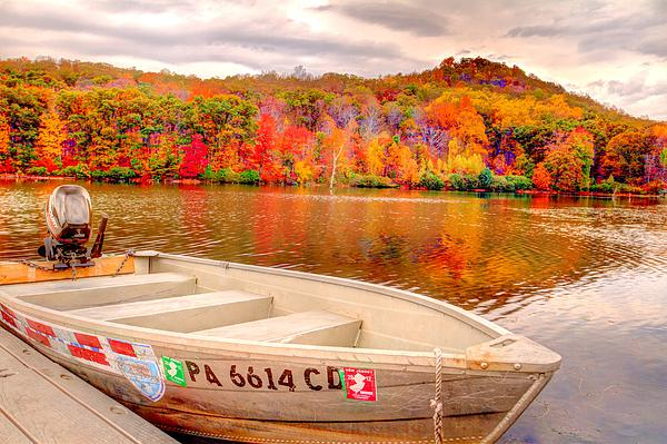 Geraldine Scull ART - monksville reservior North Jersey autumn trees and boat