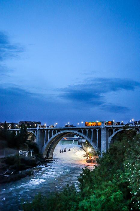 Monroe St Bridge At Sunset Print by Daniel Baumer