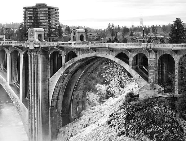 Monroe Street Bridge Iced Over - Spokane Washington Print by Daniel Hagerman