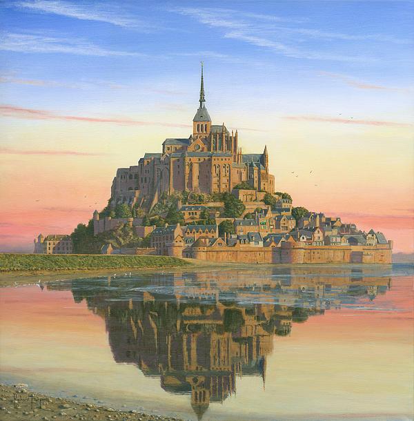 Mont Saint-michel Morn Print by Richard Harpum