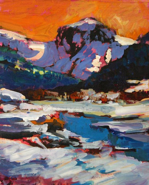 Montana Snow  Plein Air Print by Mike Savlen