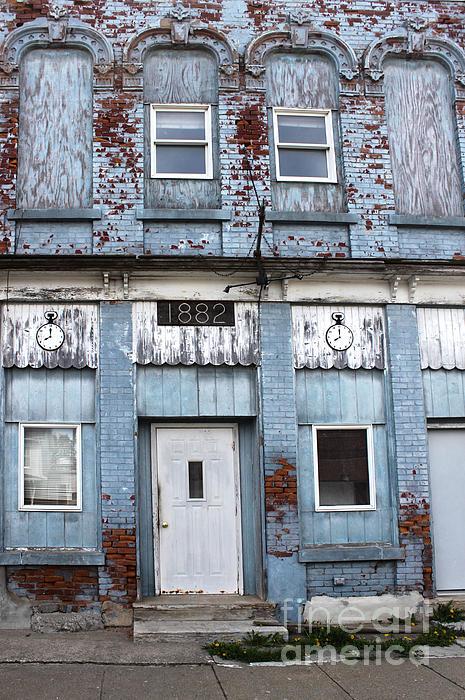 Montezuma Iowa - Blue Brick Building Print by Gregory Dyer