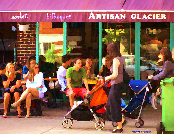 Montreal Art Work Bilboquet Cafe Scene Moms And Baby Carriages  In  Outremont By Carole Spandau Print by Carole Spandau