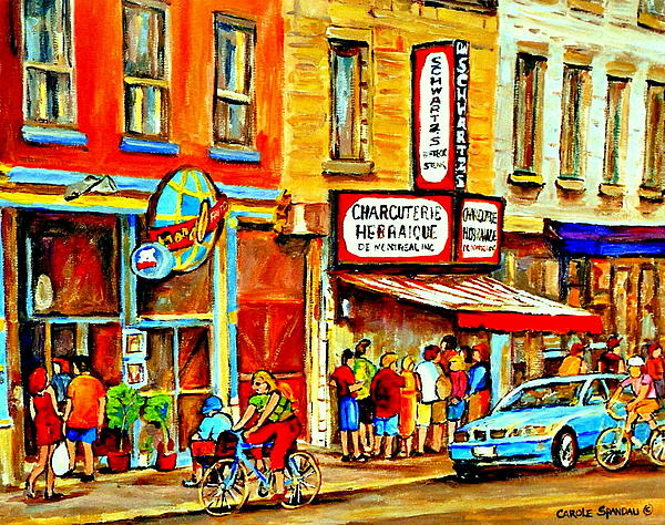 Montreal Bike Path Reserved Lane Cyclists Drive By Schwartzs Deli  Line-up Montreal Paintings Print by Carole Spandau