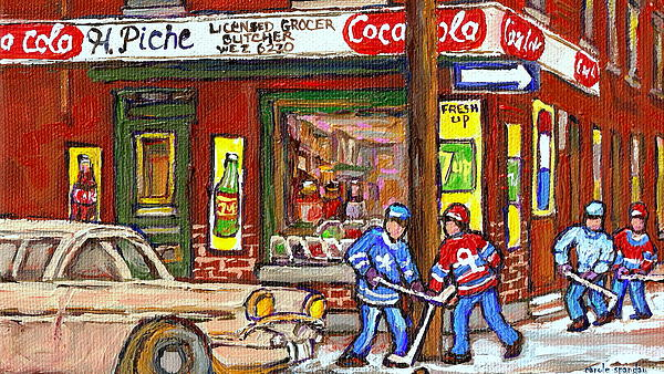 Montreal Hockey Paintings At The Corner Depanneur - Piche's Grocery Goosevillage Psc Griffintown Print by Carole Spandau