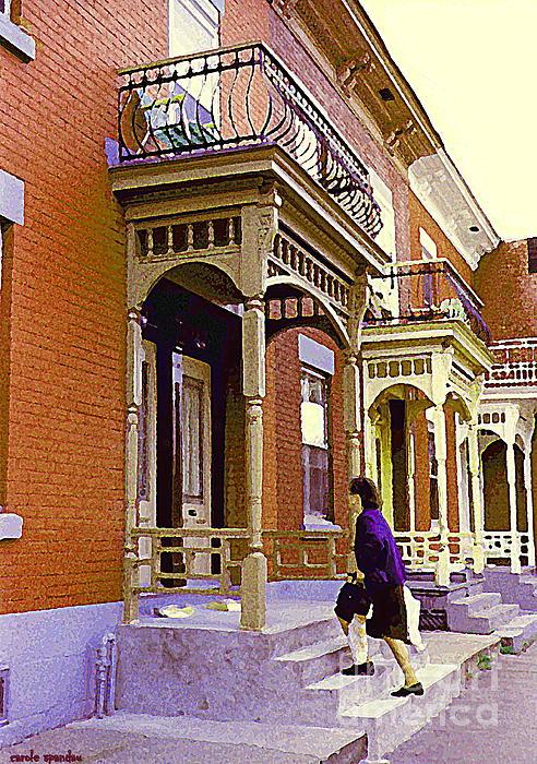Montreal Memories Pretty Plateau Porches Lady Climbs Front Steps By Bricks Balconies Home Cspandau   Print by Carole Spandau
