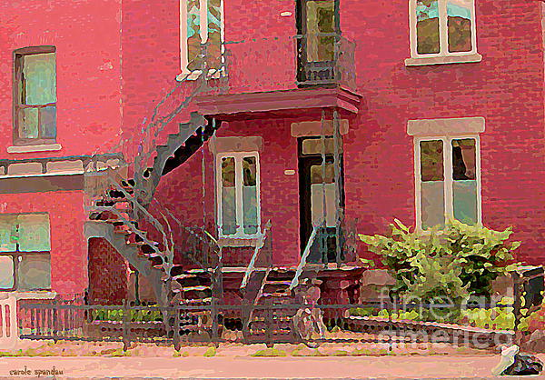 Montreal Memories The Old Neighborhood Timeless Triplex With Spiral Staircase City Scene C Spandau  Print by Carole Spandau