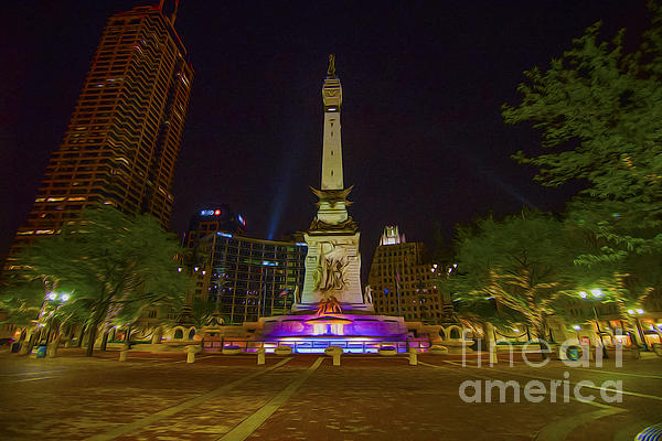 Monument Circle Indianapolis Digital Oil Paint Print by David Haskett
