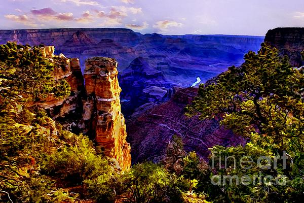 Monument To Grand Canyon  Print by  Bob and Nadine Johnston