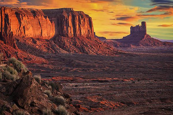 Monument Valley Sunrise Print by Priscilla Burgers