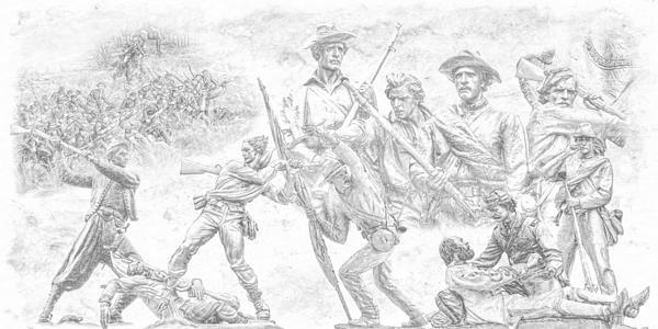 Monuments On The Gettysburg Battlefield Sketch Print by Randy Steele