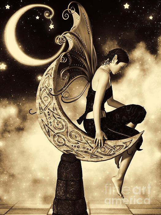 Moon Fairy Sepia Print by Alexander Butler