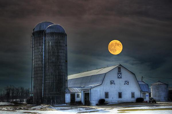 Moon Light Night On The Farm Print by David Simons