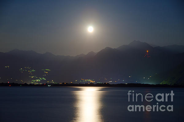 Moon Light Over A Lake Print by Mats Silvan