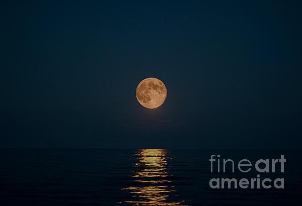 Moon Over Lake Of Shining Waters Print by Barbara McMahon