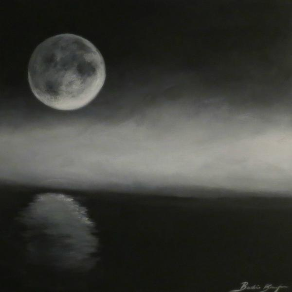 Moon Over The Shores Print by Barbie Baughman
