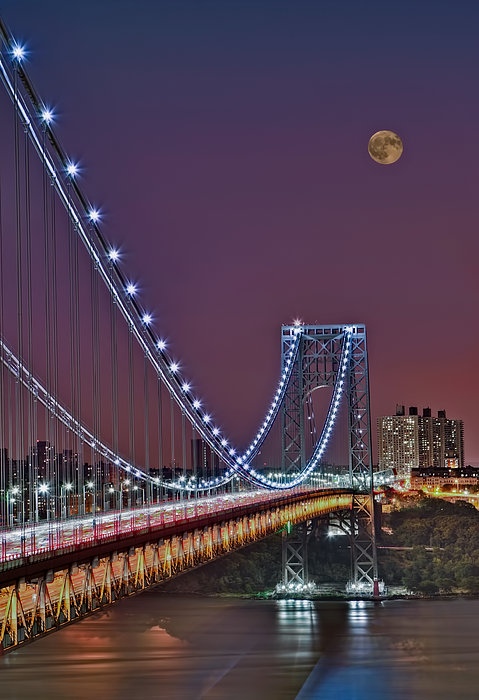 Moon Rise Over The George Washington Bridge Print by Susan Candelario