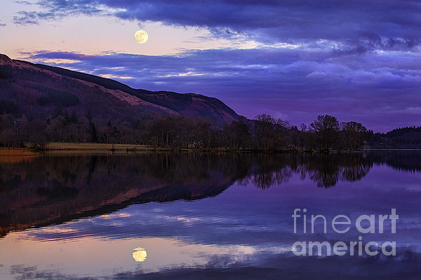 Moon Rising Over Loch Ard Print by John Farnan