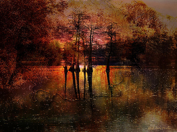Moon Setting Over Reelfoot Lake Print by J Larry Walker