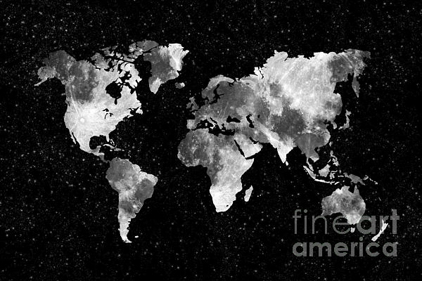 Moon World Map Print by Delphimages Photo Creations