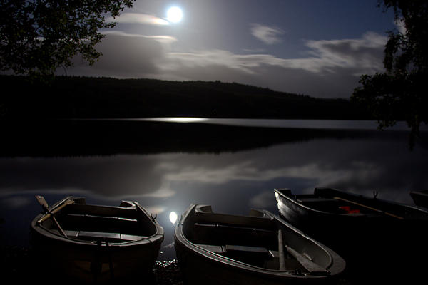 Moonlight On Achilty Loch Print by Dave Cawkwell