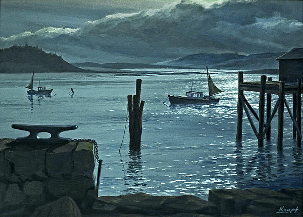 Moonlight On The Harbor Print by Paul Krapf