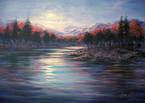 Moonrise On The Lake Print by Laila Awad  Jamaleldin