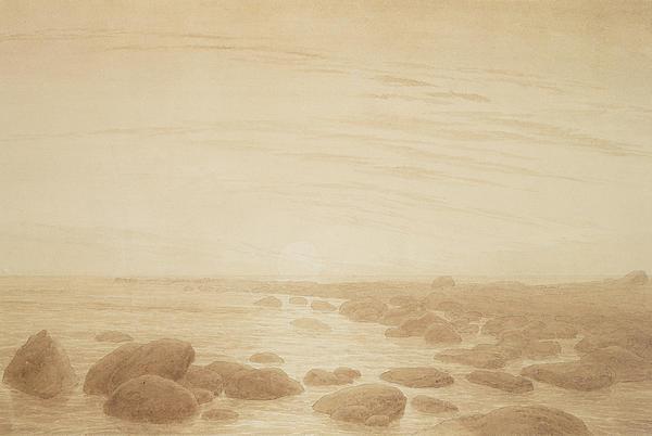 Moonrise On The Sea Print by Caspar David Friedrich