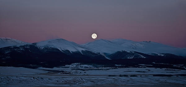 Moonset Over The Great Divide Print by Patrick Derickson
