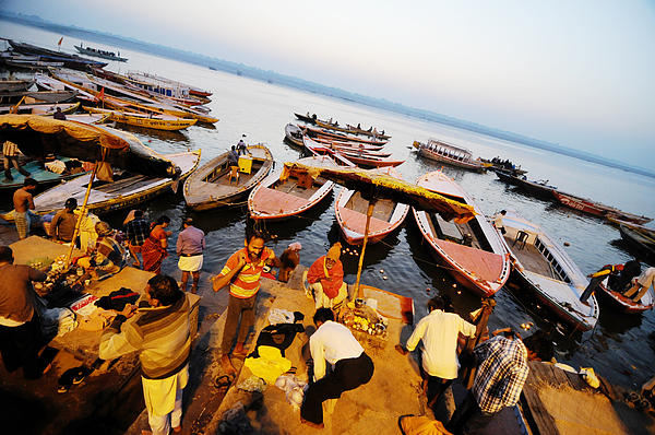 Morning Bath At Ganga Print by Money Sharma