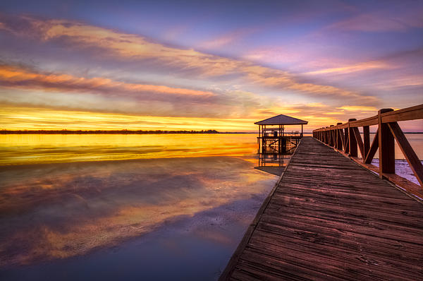 Morning Dock Print by Debra and Dave Vanderlaan