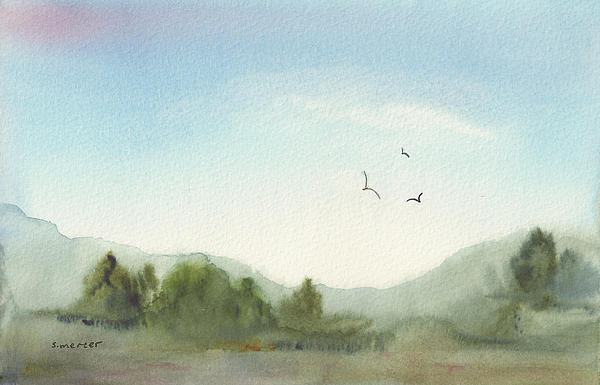 Morning Meadow Print by Shirley Mercer