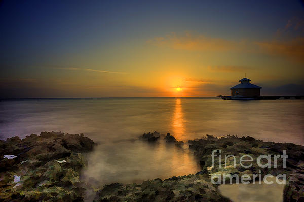 Morning Sun Rising In The Grand Caymans Print by Dan Friend