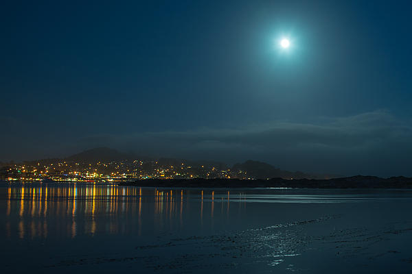 Morro Bay At Night Print by Terry Garvin