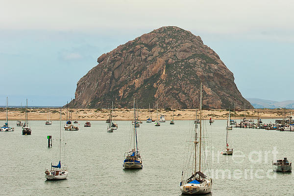 Morro Bay Rock At Dawn Print by Artist and Photographer Laura Wrede