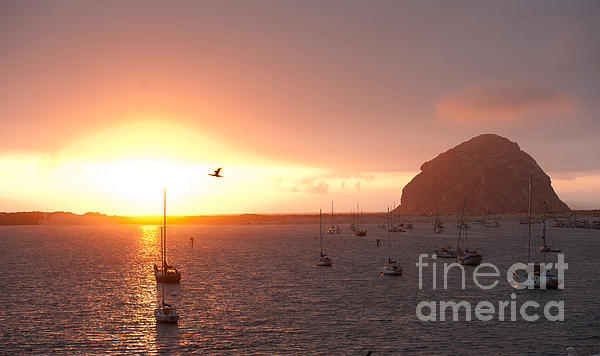 Morro Bay Rock At Sunset Print by Artist and Photographer Laura Wrede
