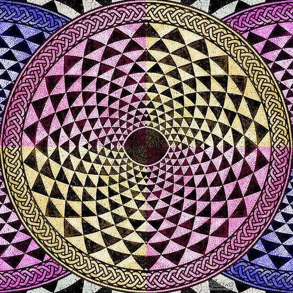 Mosaic Circle Symmetric  Print by Tony Rubino