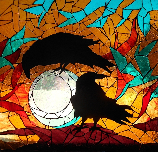 Catherine Van Der Woerd - Mosaic Stained Glass-Crows
