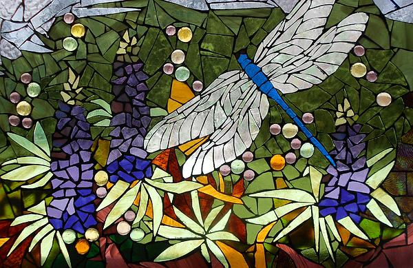 Catherine Van Der Woerd - Mosaic Stained Glass - Lupins and dragonfly