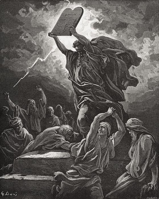 Moses Breaking The Tablets Of The Law Print by Gustave Dore