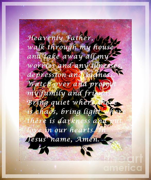 Most powerful prayer with flowers in a vase print by barbara griffin