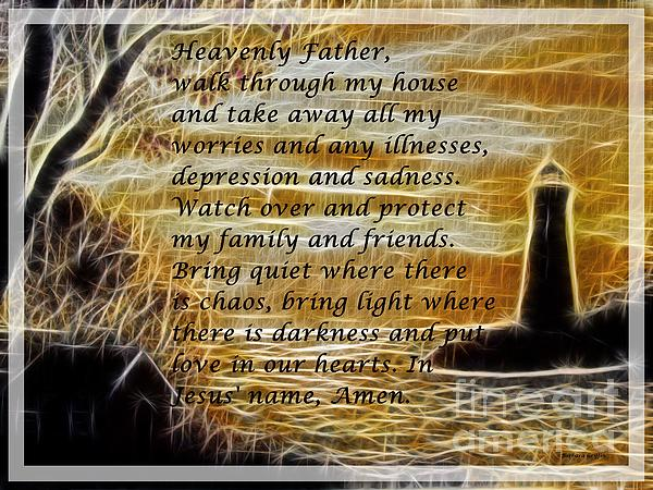 Most Powerful Prayer With Lighthouse Scene Print by Barbara Griffin