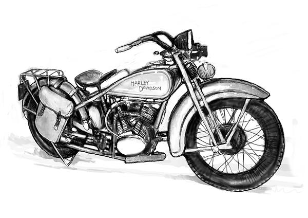 motercycle drawing art sketch