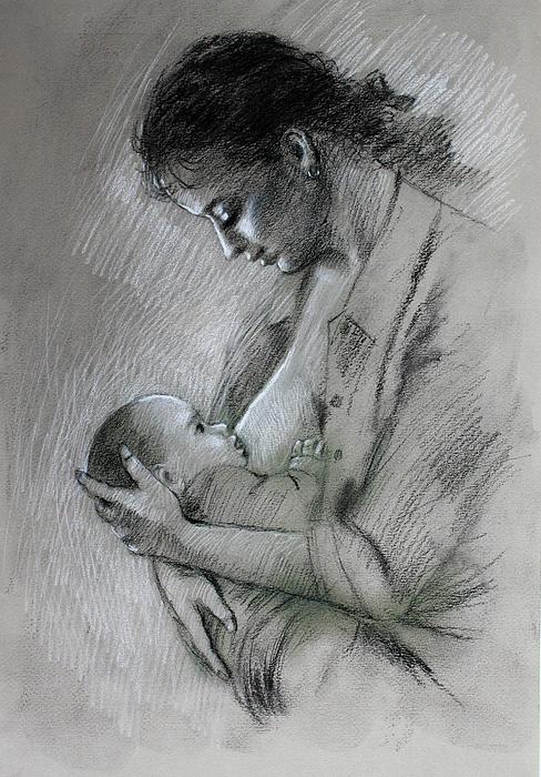 Mother And Baby Print by Viola El