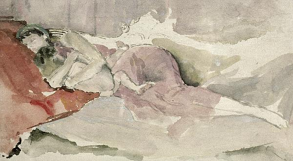 Mother And Child On A Couch Print by James Abbott McNeill Whistler