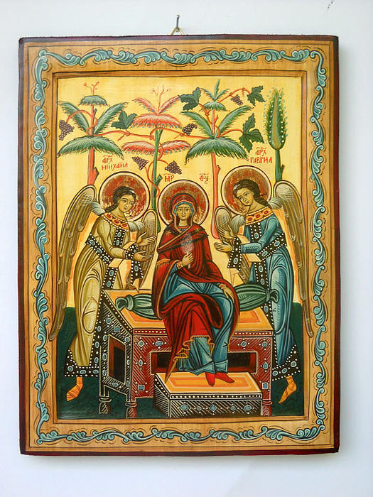 Mother Of God In Heaven With The Archangels Hand Painted Holy Orthodox Wooden Icon Print by Denise Clemenco