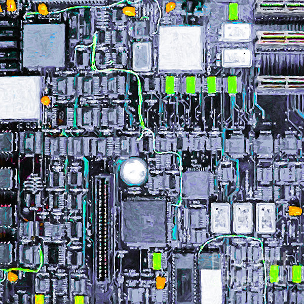 Motherboard Abstract 20130716 P38 Square Print by Wingsdomain Art and Photography